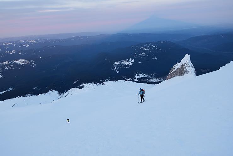 Sara skinning Mt. Hood